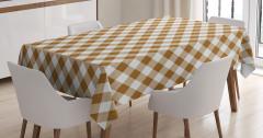Ekoseli Kumaş Desenli Masa Örtüsü Kahverengi Beyaz