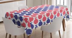 Kırmızı ve Mavi Balıklar Masa Örtüsü Dekoratif Şık