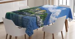 Göl Kenarındaki Evler Masa Örtüsü Mavi Gökyüzü