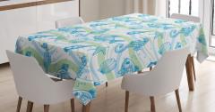 Deniz Canlıları Desenli Masa Örtüsü Mavi Yeşil Şık