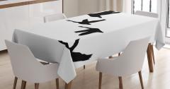 Gökyüzünde Uçan Kuşlar Masa Örtüsü Siyah Beyaz Şık