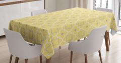 Dekoratif Yonca Desenli Masa Örtüsü Sarı Şık Tasarım