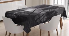 Denizde Gün Batımı Masa Örtüsü Palmiyeler Siyah