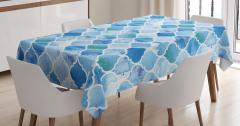 Dekoratif Fas Desenli Masa Örtüsü Mavi Şık Tasarım