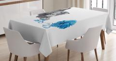 Yumakla Oynayan Yavru Kedi Masa Örtüsü Gri Mavi