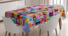 Rengarenk Harf Desenli Masa Örtüsü Dekoratif Şık