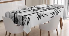 Şık Bambu Ağacı Desenli Masa Örtüsü Siyah Beyaz