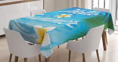 Yaz Coşkusu Desenli Masa Örtüsü Palmiye Deniz Çiçek