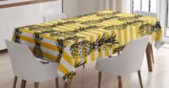 Ananas Desenli Masa Örtüsü Dekoratif Çizgili Şık
