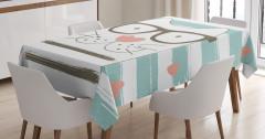 Gözlüklü Şirin Kedi Masa Örtüsü Çizgili Kalpli
