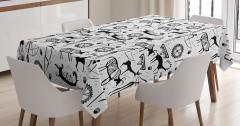 Antik Afrika Desenli Masa Örtüsü Siyah Beyaz Şık
