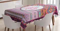 Etnik Geometrik Desenli Masa Örtüsü Aztek Dizaynı