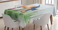 Sihirli Mantarlar ve Kedi Masa Örtüsü Dekoratif