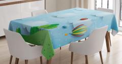 Sıcak Hava Balonları Masa Örtüsü Gökkuşağı Bulut