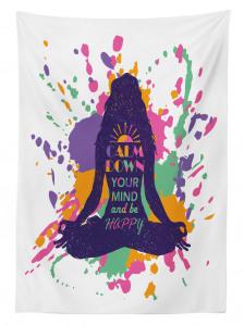 Lotus Oturuşu Yapan Kadın Masa Örtüsü Meditasyon Şık