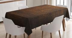 Dekoratif Ahşap Desenli Masa Örtüsü Kahverengi