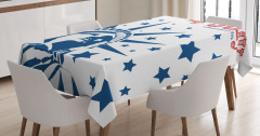 Yıldızlı Amerikan Bayrağı Desenli Masa Örtüsü Şık