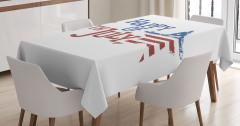 Amerikan Yıldızları Masa Örtüsü Kırmızı Lacivert