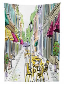 Barlar Sokağı Temalı Masa Örtüsü Rengarenk Trend