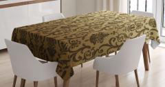 Barok Çiçek Süslemeli Masa Örtüsü Kahverengi Şık