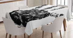 El İzi Desenli Masa Örtüsü Siyah Beyaz Şık Trend