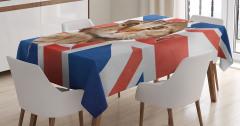Bayrak ve Kedi Temalı Masa Örtüsü Kahverengi Kırmızı