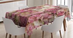 Pembe Gül Desenli Masa Örtüsü Romantik Şık Tasarım