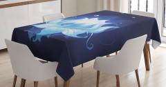 Sudaki Mavi Lotus Çiçeği Masa Örtüsü Dekoratif Şık