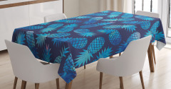 Mavi Ananas Desenli Masa Örtüsü Sulu Boya Efektli
