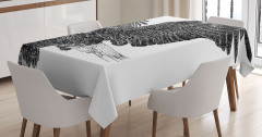 Uçan Kartal Desenli Masa Örtüsü Siyah Beyaz Şık
