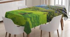 Göl Kıyısındaki Bank Masa Örtüsü Yeşil Doğa Ağaçlar