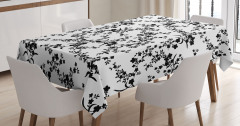 Zarif Çiçekli Desen Masa Örtüsü Siyah Beyaz Şık