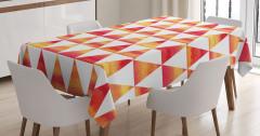 Sulu Boya Üçgenler Masa Örtüsü Turuncu Sarı Beyaz