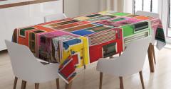 Rengarenk Kapı Temalı Masa Örtüsü Şık Tasarım Trend