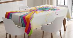 Gökkuşağı ve Çiçek Buketi Masa Örtüsü Dekoratif