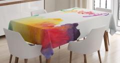 Rengarenk Bahar Coşkusu Masa Örtüsü Sulu Boya Etkili