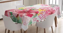 Pembe Çiçek ve Yaprak Temalı Masa Örtüsü Çeyizlik