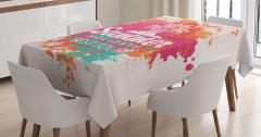 Palmiyeli Yaz Desenli Masa Örtüsü Dekoratif Şık