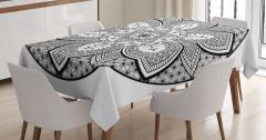 Siyah Beyaz Mandala Desenli Masa Örtüsü Dekoratif