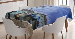 Gondol ve Gökyüzü Temalı Masa Örtüsü Mavi Trend