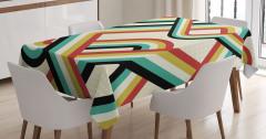Retro Çizgili Desenli Masa Örtüsü Duvar Kağıdı Şık