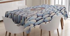 Çakıl Taşları Desenli Masa Örtüsü Gri Şık Tasarım