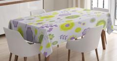 Şık Çiçekler ve Yaprakları Masa Örtüsü Mor Yeşil