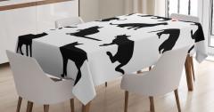Kedi Silüetleri Desenli Masa Örtüsü Siyah Beyaz
