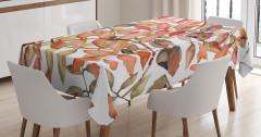 Yaprak Desenli Masa Örtüsü Pembe Kahverengi Şık