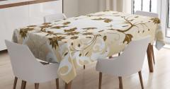 Kahverengi Şık Çiçek Desenli Masa Örtüsü Dekoratif