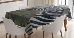 Zebra Portresi Desenli Masa Örtüsü Siyah Beyaz
