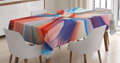 Rengarenk Desenli Masa Örtüsü Mavi Turuncu Pembe Şık