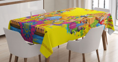 Rengarenk Hint Esintili Masa Örtüsü Mandalalı