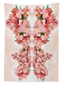 Pembe Çiçek Desenli Masa Örtüsü Çeyizlik Şık Tasarım